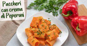 primo piatto  pasta con crema di peperoni