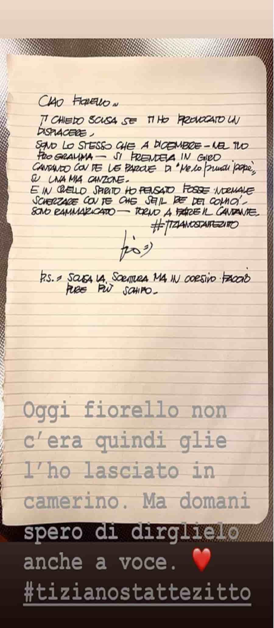 lettera di tiziano ferro a fiorello