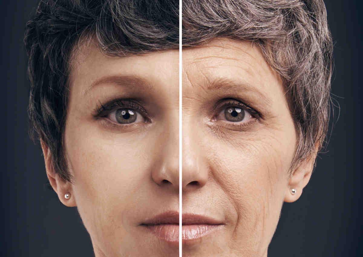 Donna con viso giovane e vecchio