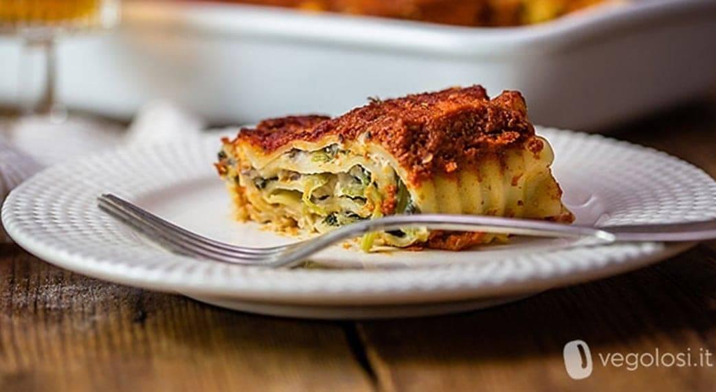 Involtini di lasagne con erbette e crema di cannellini