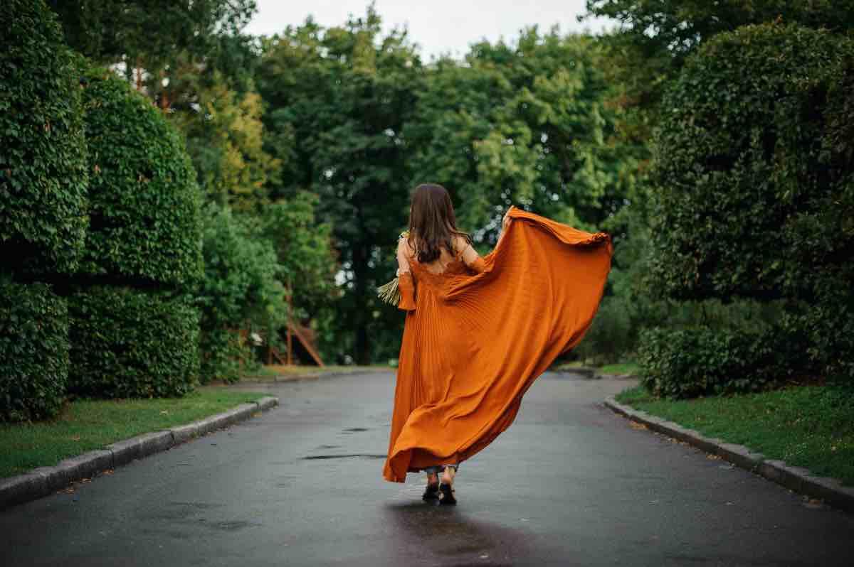 vestito lungo arancione