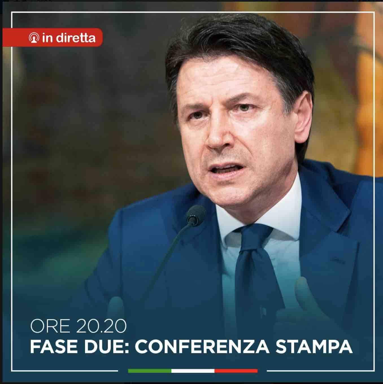 Coronavirus, fase due   Giuseppe Conte conferenza stampa da Palazzo Chigi