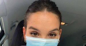 Paola Di Benedetto con la mascherina