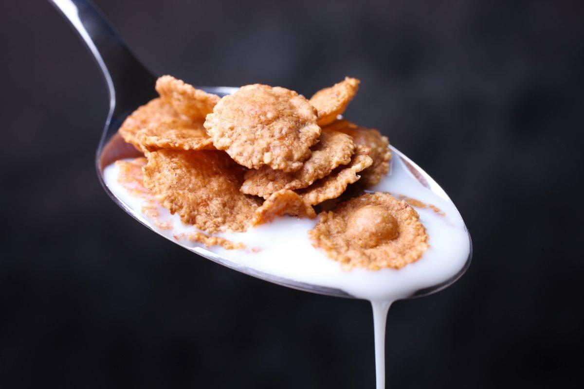 Cucchiaio di latte con cereali