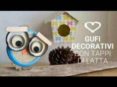 Riciclo creativo | gufi porta fortuna con tappi