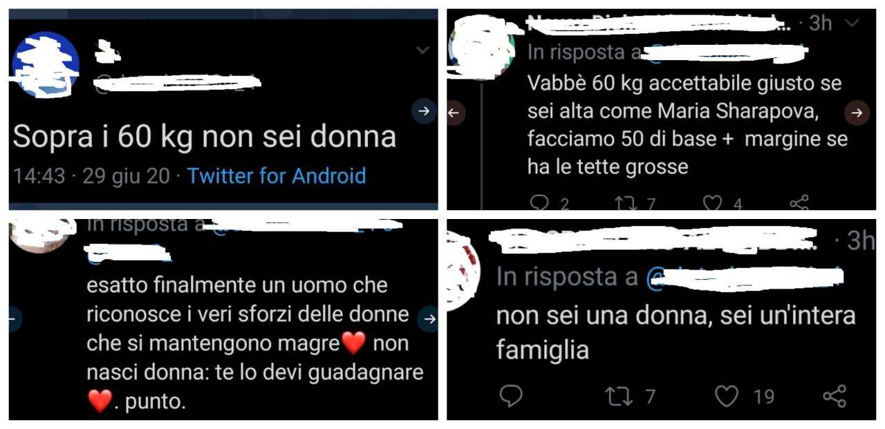 twitter frasi shock insulti donne 60 chili