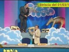 Gerry Scotti e Gene Gnocchi a Striscia la Notizia, la storica gag del bancone (Twitter)