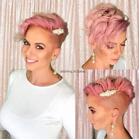 Pixie cut rasato rosa
