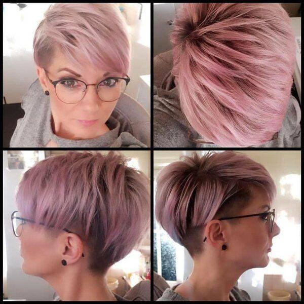 Pixie cut corto rosa