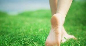 piedi nudi di donna su prato verde