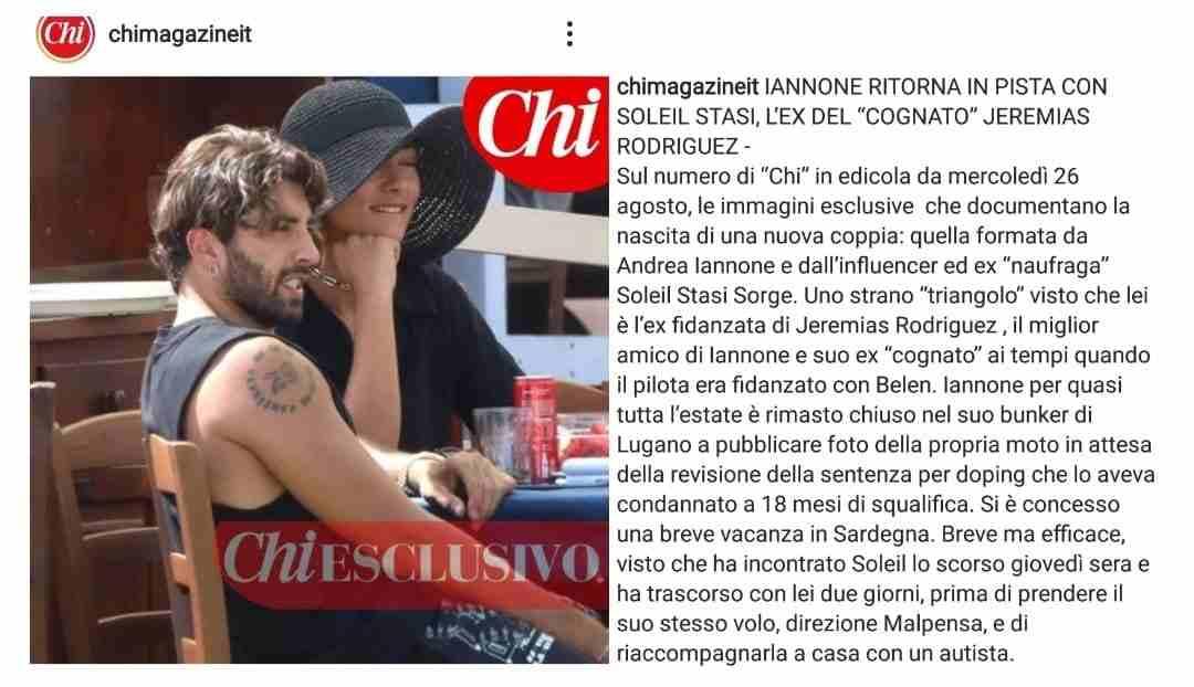 Andrea Iannone e Soleil Sorge beccati insieme in Sardegna