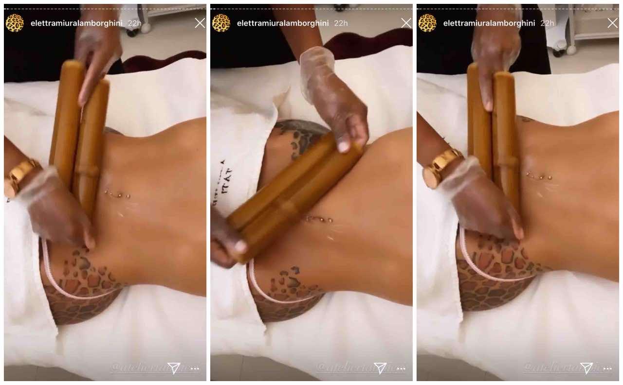 Elettra Lamborghini massaggio