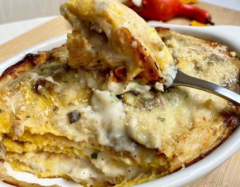 Crespelle al forno zucca e funghi con besciamella light facilissima!