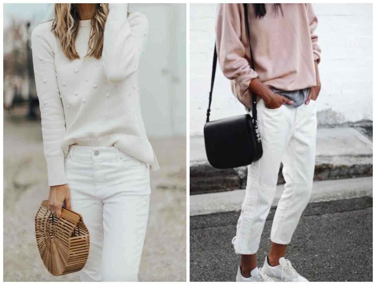 pantaloni bianchi autunno