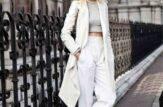 pantaloni bianchi vita alta