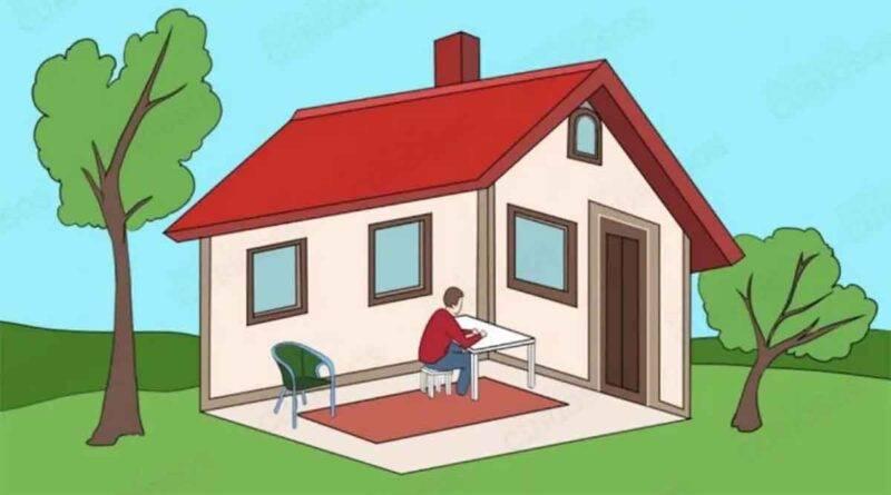 test visivo, l'uomo si trova dentro o fuori la casa?