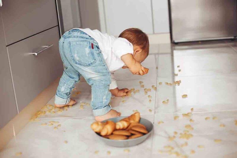 bimbo mangia cibo caduto per terra