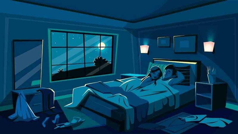 coppia a letto dopo aver fatto l'amore