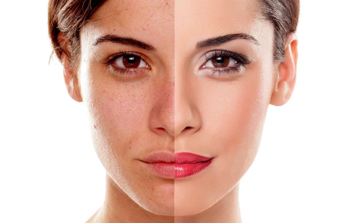 donna prima e dopo makeup