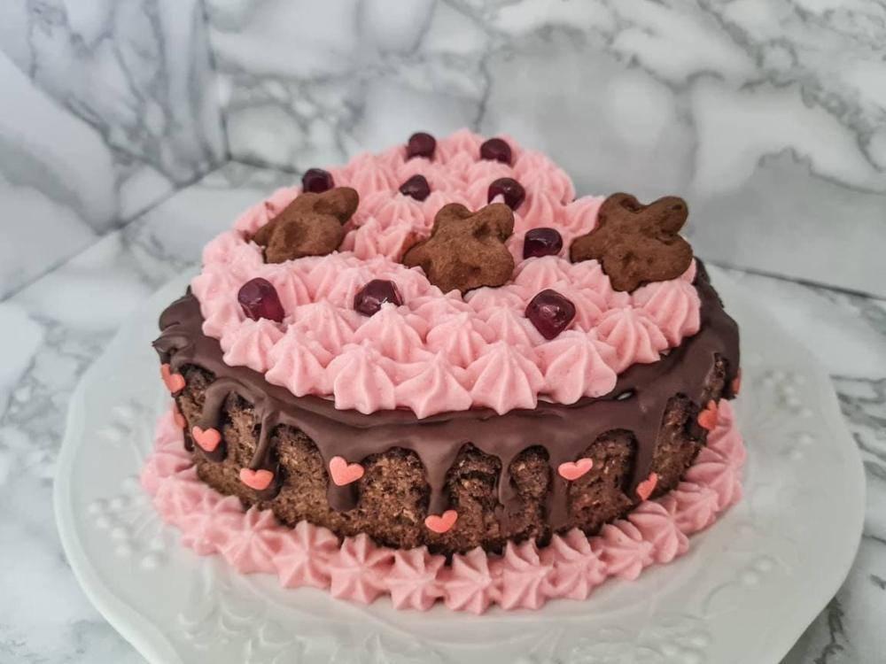 Cuore di cheesecake rosa