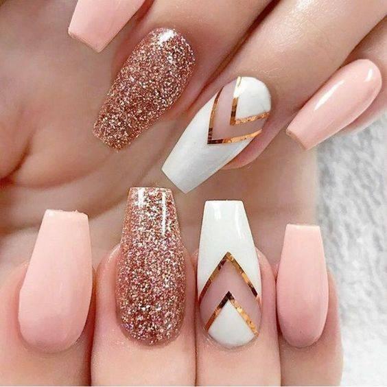 glitter gold rose nails