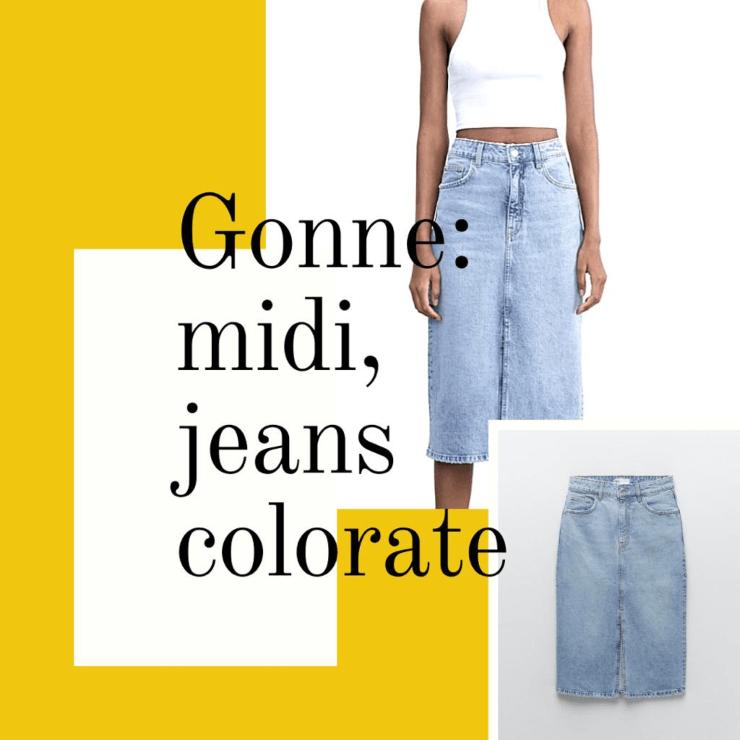 Gonna jeans midi