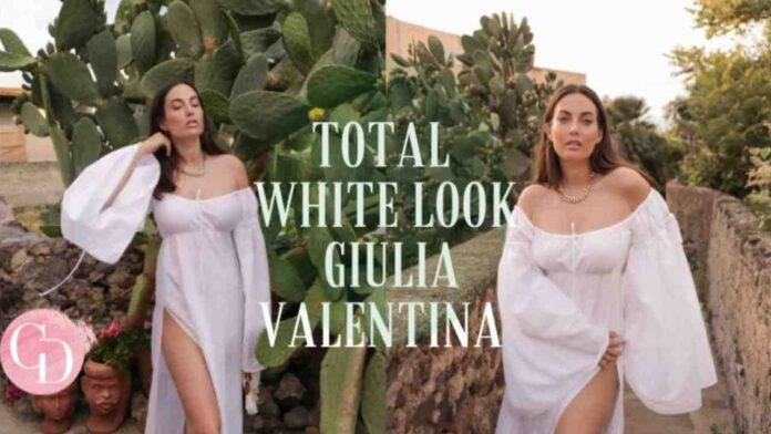 Giulia Valentina in outfit total white