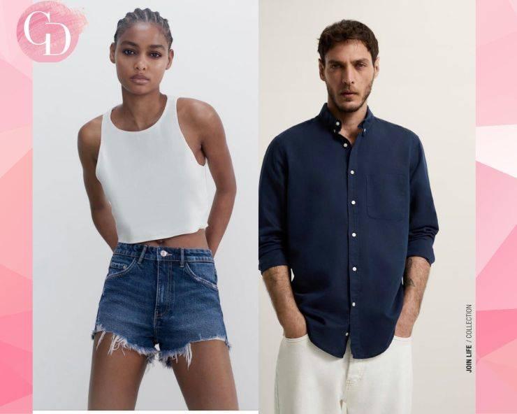 Shorts denim e camicia lino