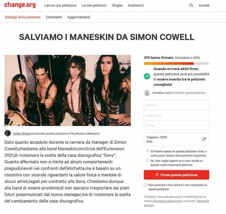 petizione fan maneskin