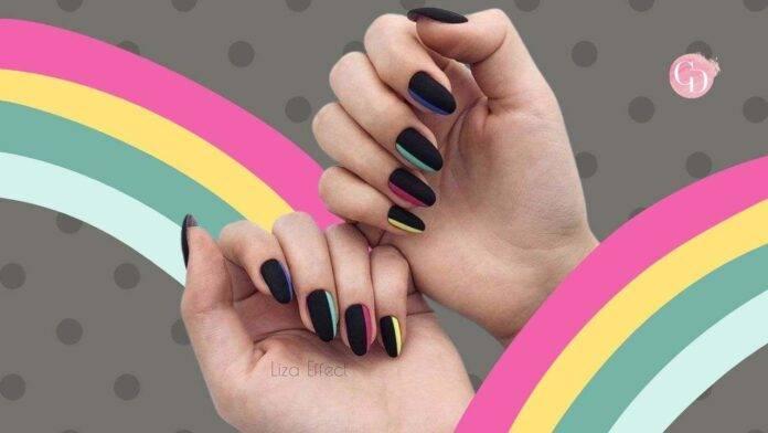 unghie nere colori pastello