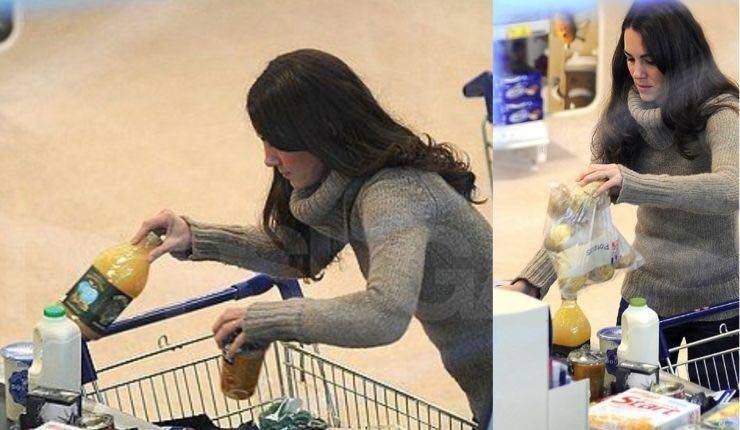 Kate al supermarket