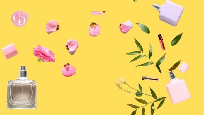 profumo tra fiori su sfondo giallo
