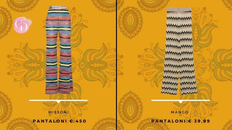 pantaloni a righe look bohemiene