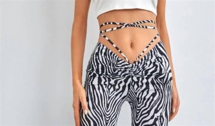 pantaloni a vita bassa stringhe incrociate