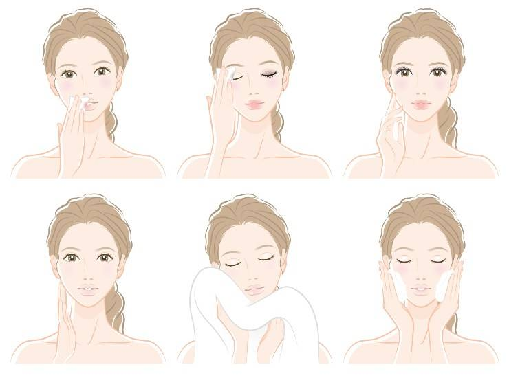 donna pulizia viso fasi