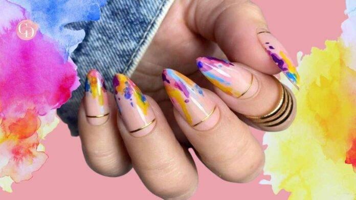 Unghie acquerello arcobaleno