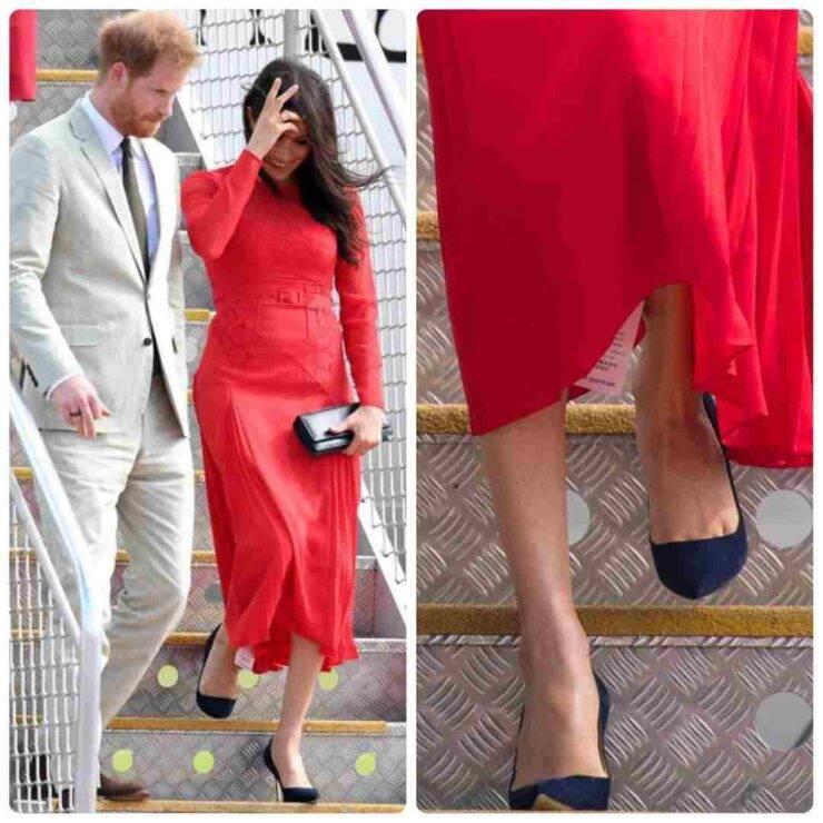 gaffe meghan markle vestito rosso