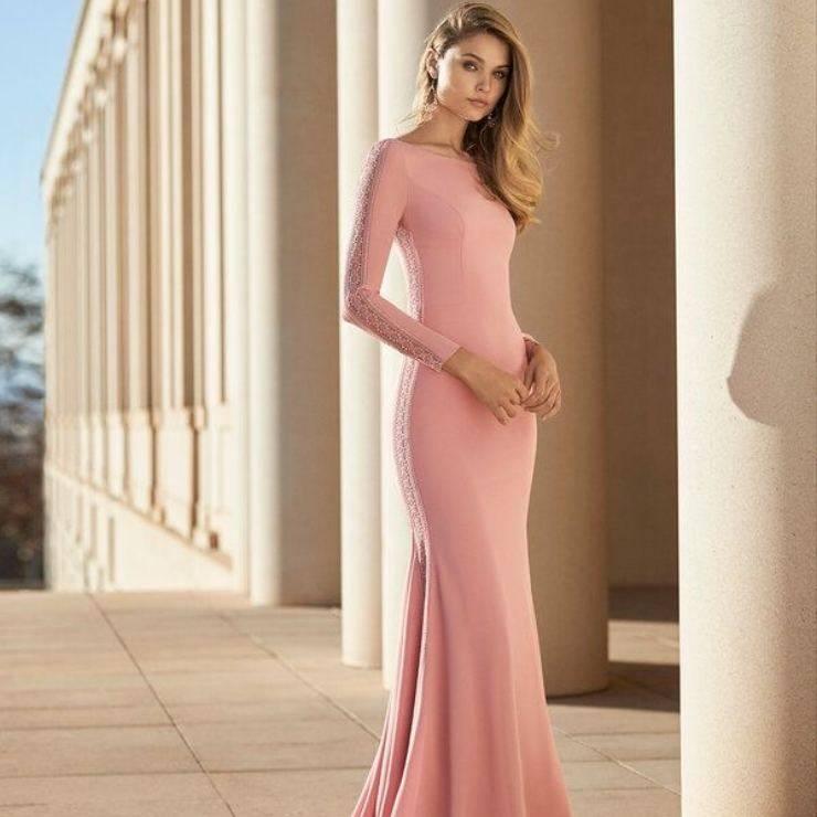 Abito rosa lungo da cerimonia