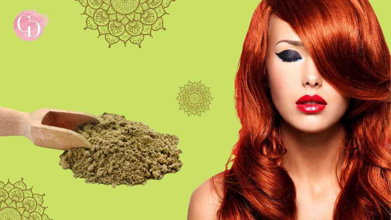 capelli d'autunno con l'henné donna con capelli rossi con henné in polvere