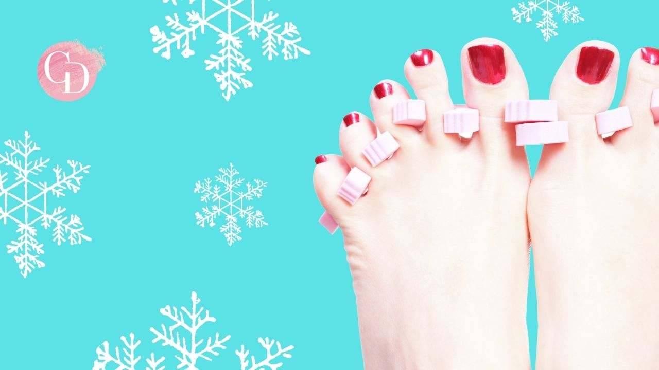 piedi perfetti in inverno piedi donna con smalto rosso
