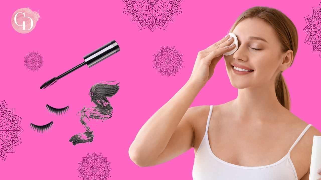 struccare il mascara donna che passa dischetto cotone su occhio