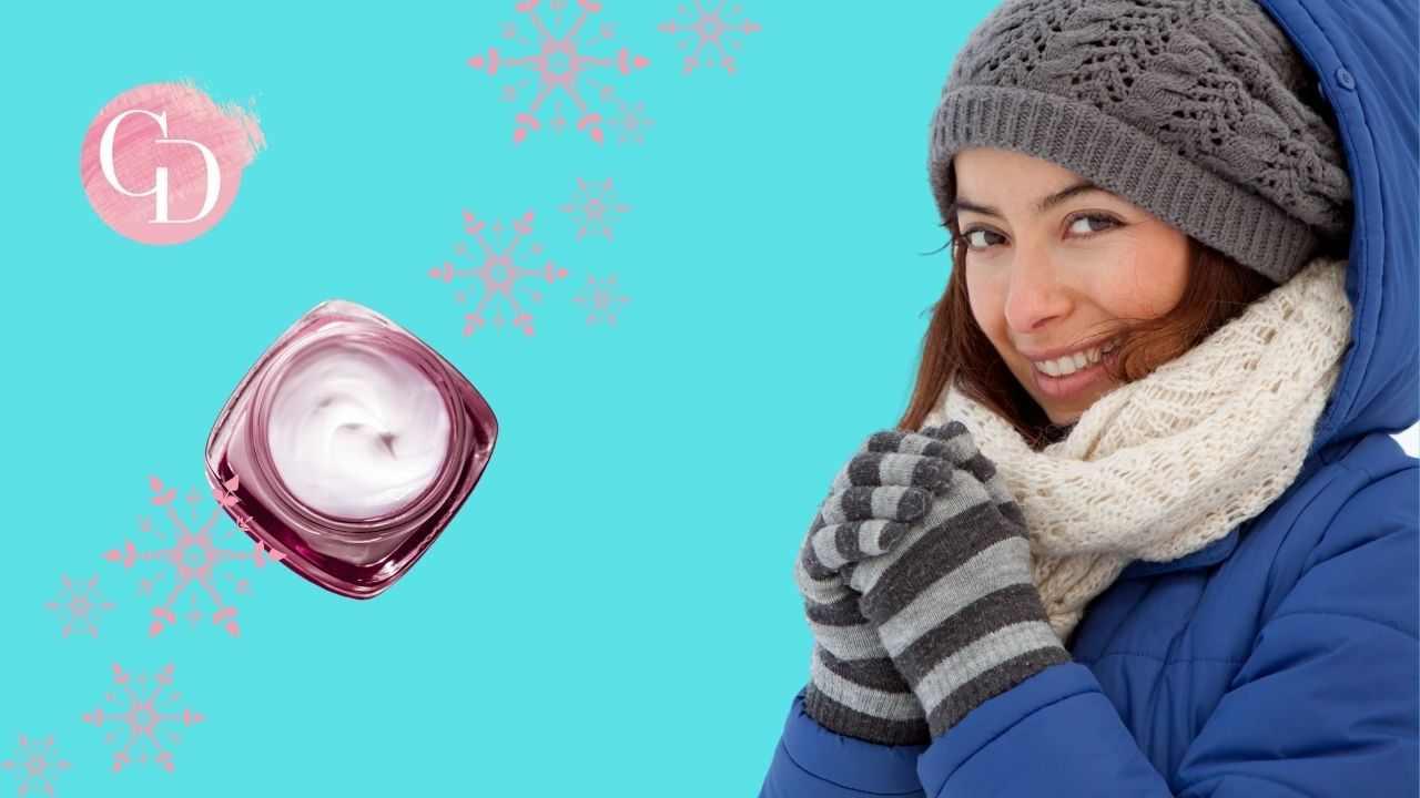 skincare invernale viso donna sorridente e crema viso