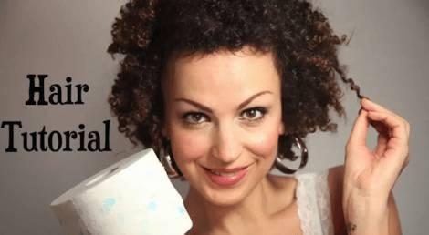 TUTORIAL CAPELLI  chioma stile afro con la carta igienica 557f5abb7ebe